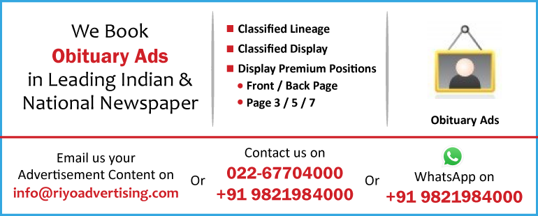 Newspaper advertisement sample for Obituary Ads in Medak